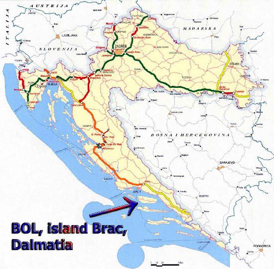 kroatien karte inseln Lage Zlatni Bol   Karte Bol   Karte Insel Brac   Karte Kroatien kroatien karte inseln