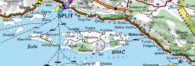 split kroatien karte Lage Zlatni Bol   Karte Bol   Karte Insel Brac   Karte Kroatien split kroatien karte